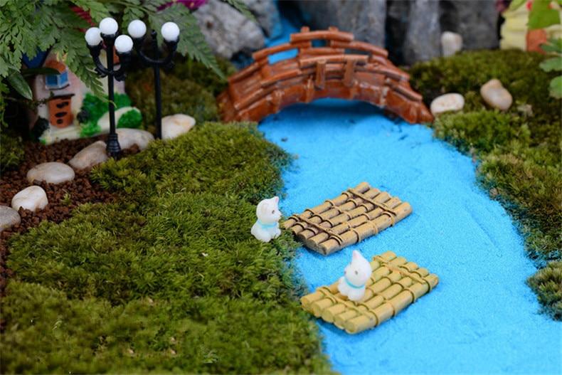 3 Pcs Bambus Raft Boat Miniaturen Fee Garten Landschaft Terrarium Figuren Dekor