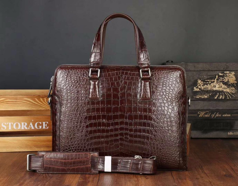 Briefcase Laptop-Bag Business-Bag Crocodile 100%Genuine Skin Zipper Men