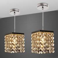 New K9 Crystal Chandeliers Modern Simple Bar Crystal Lighting E14 LED Lamps Chrome Metal Base Crystal Lustre Light Chandeliers