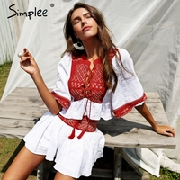 Simplee Boho Embroidery Two Piece Romper Women Jumpsuit Ethnic Tassel Lace Up White Playsuit 2018 Summer