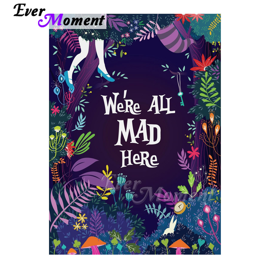 Ever Moment Diamond Painting We Are All Mad Here Purple Handmade Picture Of Rhinestone Mosaic Square Diamond Embroidery S2F2165Ever Moment Diamond Painting We Are All Mad Here Purple Handmade Picture Of Rhinestone Mosaic Square Diamond Embroidery S2F2165