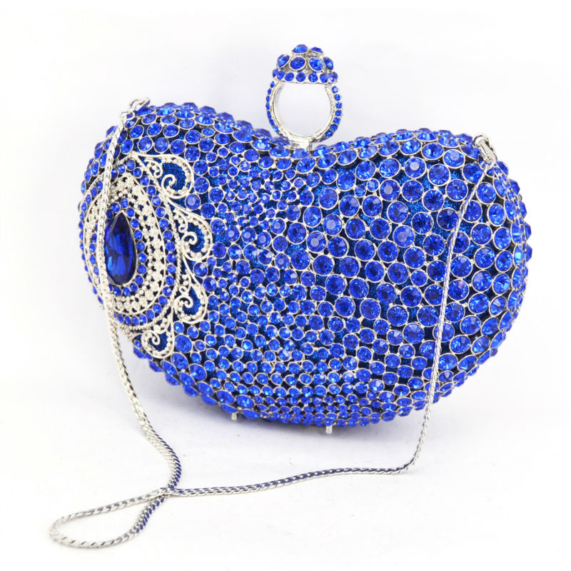 Stylish Newest Finger Ring Rhinestone Evening Bag Blue Heart crystal Clutch bag Water Drop Banquet Party Bag Prom Purse 88551