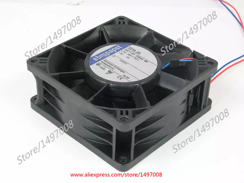 Free Shipping For ebmpapst 3214 JH DC 24V 9W 2-wire 90mm 92x92x38mm Server Square Cooling fan