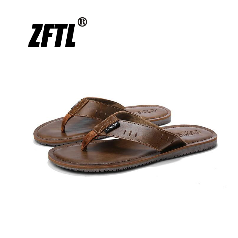 ZFTL New Man Flip flops male beach slippers summer leather casual flip man Retro comfortable men  073