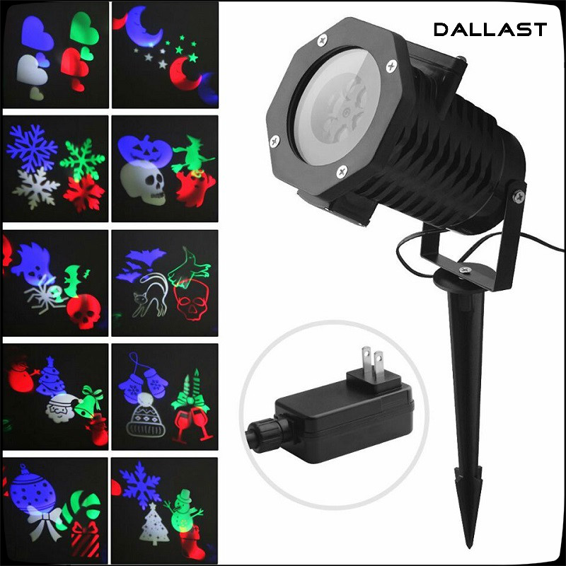 Christmas Snowflake Projector Waterproof 10 Lens LED Ambient Party Light Stage Lighting Kids Birthday Halloween DALLAST rg mini 3 lens 24 patterns led laser projector stage lighting effect 3w blue for dj disco party club laser