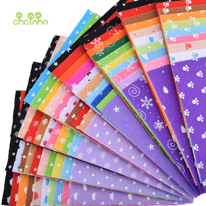 Printed Felt Non Woven Fabric 1mm Thickness Polyester Cloth For Sewing Dolls Crafts Home Decoration Pattern Bundle 15x15cm,10pcs