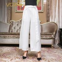 VOA тяжелый шелк белый женские офисные Широкие штаны Для женщин Высокая Талия Длинные брюки осень одноцветное Свободные Большой Размеры Пал