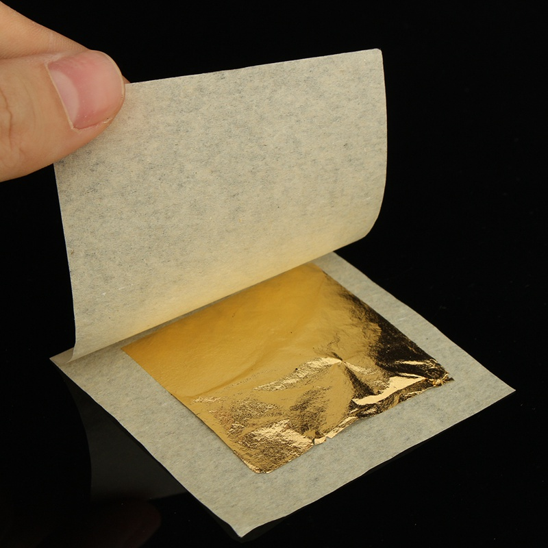 50sheets 24K Pure Real Edible Gold Foil Leaf For Cooking Food Cake Decor Art Gilding Handicrafts Face Beauty Care 4.33X4.33cm