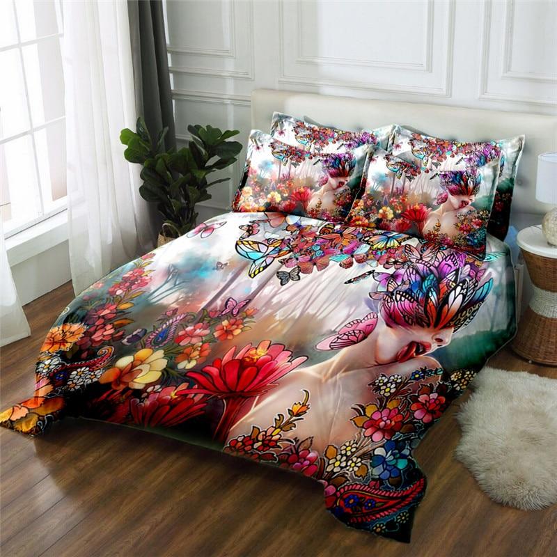 New Product sex lady 3D printed 4 Pcs Bedding Set Microfiber Bedclothes Bed Linens Duvet Cover Set Bed Sheet - 3