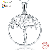 Strollgirl 925 Sterling Silver Goddess Of Tree Pendants&Necklaces For Women Silver Chain Round Pendant Necklace Fashion Jewelry