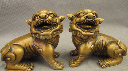 0Folk Chinese Bronze FengShui Guardian Expel Evil Foo Fu Dog Lion Statue Pair