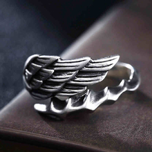 100% Pure 925 Sterling Silver Jewelry Angel Wings Rings Opening Vintage Men Signet Ring For Women Fine Gift 0014 100% pure 925 sterling silver jewelry bird rings opening vintage men signet ring for women fine gift 0013