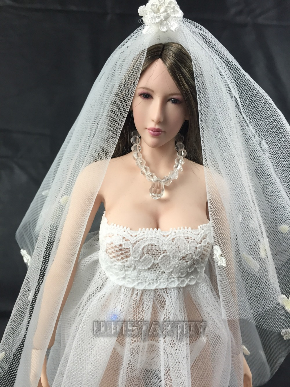 full hand made 1 6 Sexy lace wedding dress B version for Phicen Hot stuff  Jodoll OB UD LD doll action figure DIY 73f7186d3849