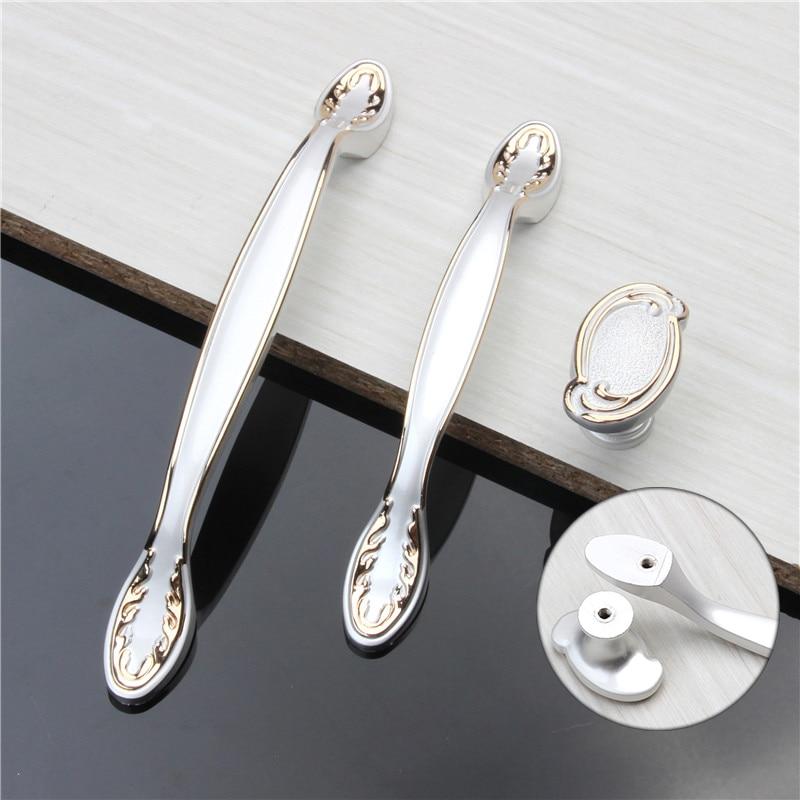 3Sizes White Modern Furniture Door Handles European Kitchen Cupboard Drawer Cabinet Pulls Simple Zinc Alloy Locker Closet Knobs