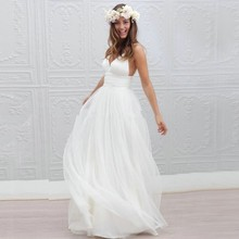 Thinyfull Vestido De Noiva Simple Beach Wedding Dress 2019 A-Line V Neck Spaghetti Straps Sexy Boho Backless White Bride
