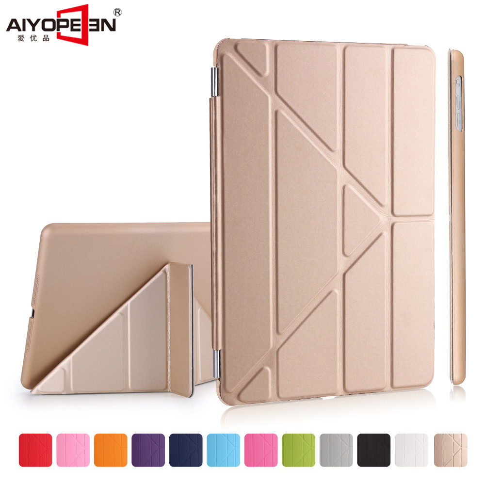 For new ipad 9.7 Case pu Leather smart wake up sleep +solid pc back cover magnetic flip stand Origimi brand aiyopeen with gift