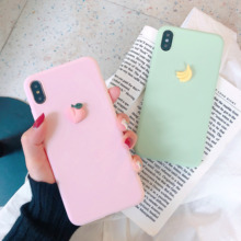 For iphone 7 case lovely fruit plus phone 6/6s/X/XS/XR/X-Max Soft Silicone Cover  3D Embossed Cartoon