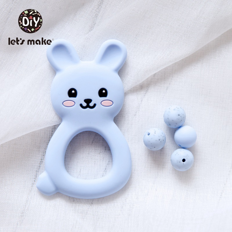 Let's Make Silicone Teethers Food Grade LaTeX Free DIY Teething Necklace 1pc Single Loaded Cartoon Rabbit Tooth Care Products