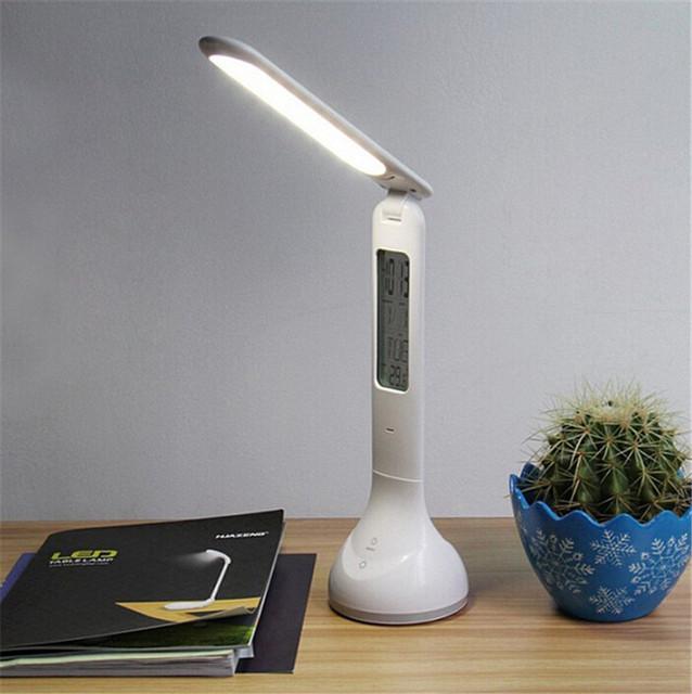 Led toque Dimmer lâmpada de mesa USB recarregável estudo do aluno Alamp leitura dobrável Led Desk Lamp com calendário temperatura relógio