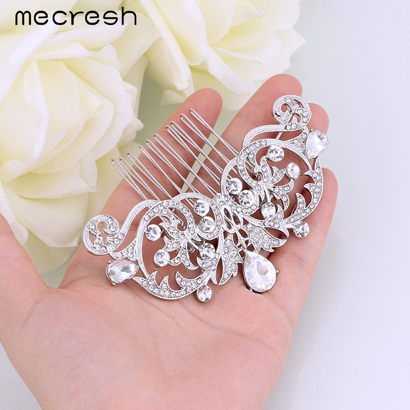Mecresh Crystal Wedding Hair Accessories for Women Silver/Gold-Color Cute Owl Eyes Bridal Hair Comb Animal Jewelry MFS116