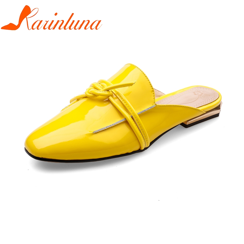 KARINLUNA 2018 Large Size 34-42 Genuine Leather Slip On Spring Summer Shoes Women Flats Casual Cow Leather Woman Flats Shoes whensinger 2017 woman shoes female genuine leather flats slip on summer fashion design f927