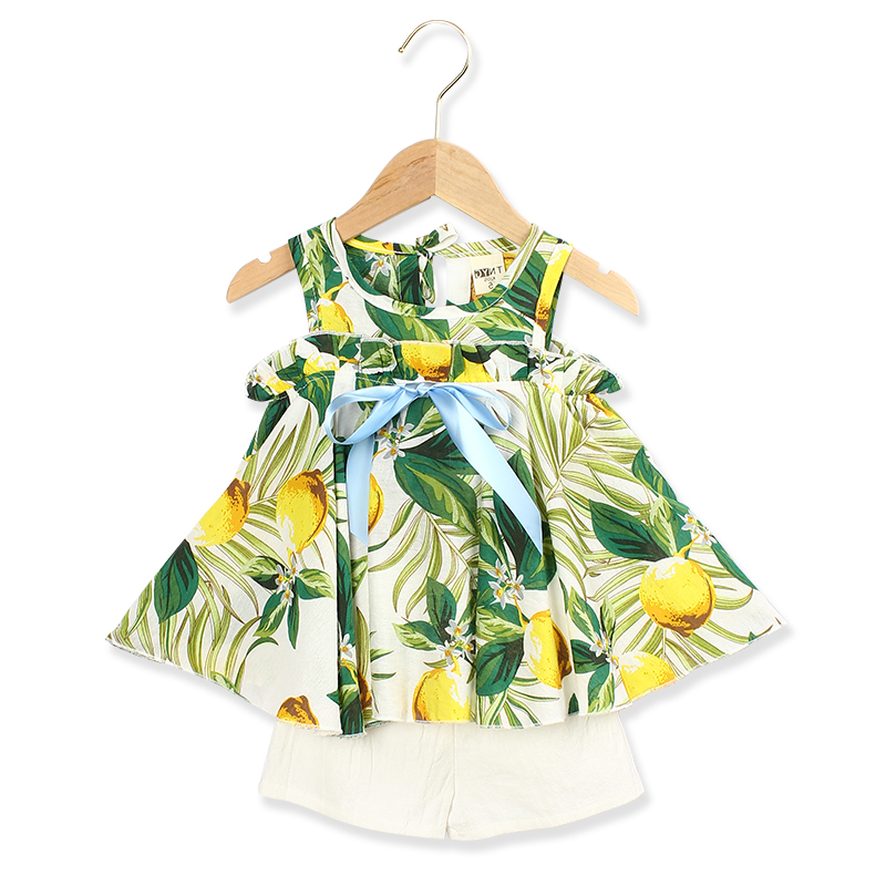 Girls Suits 2019 Summer Style Kids Beautiful  Sleeveless Dress With Short Pant Suit 2Pcs Clothes