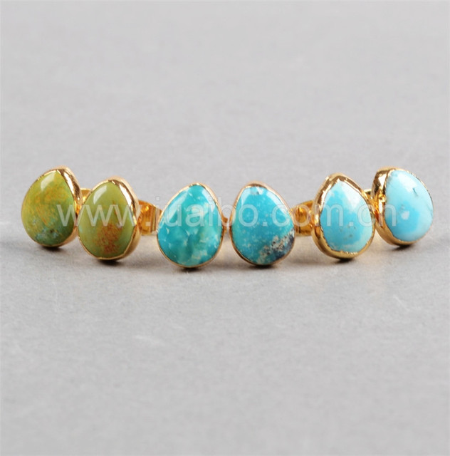 25a2b3a77 Natural turquoise stone tear Stud earrings Gold Plated Natural color Natural  Turquoise Stud Earrings G0433