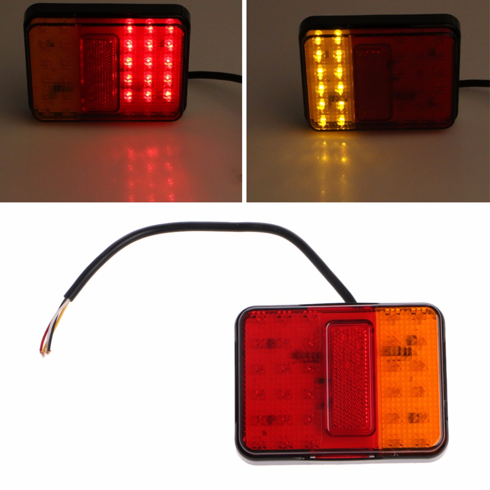 2Pcs Waterproof 30 LED Taillights Red Amber Rear Tail Light DC 12V for Trailer Truck Boat Car Styling Warning Turn Signal Lights rear waterproof red
