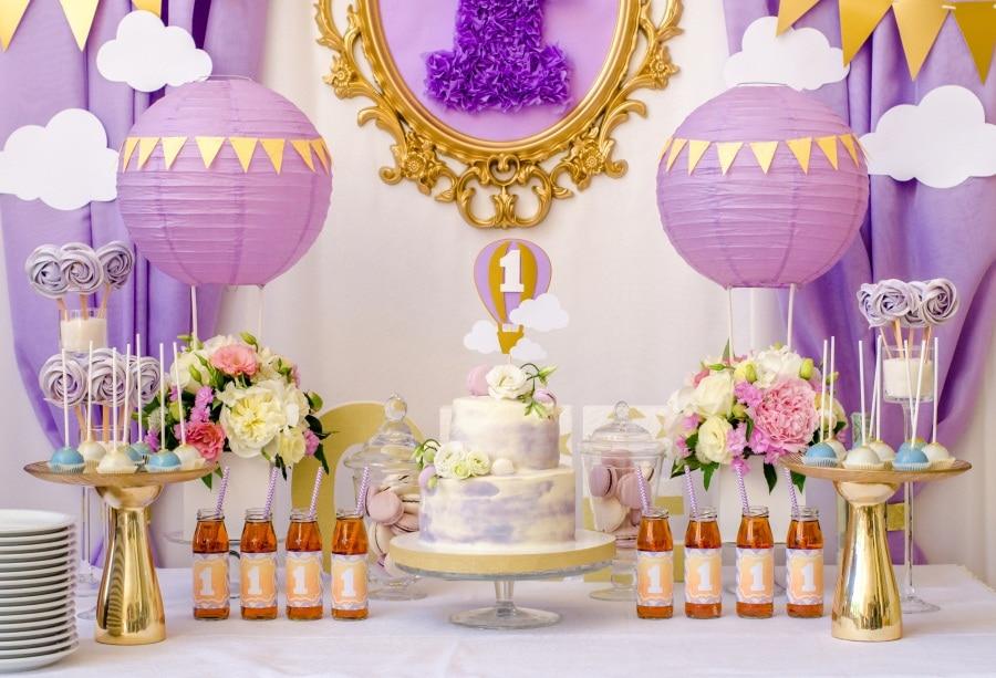 Laeacco Baby 1 Verjaardagstaart Bloem Lollipop Papier Gesneden Decor - Camera en foto - Foto 1