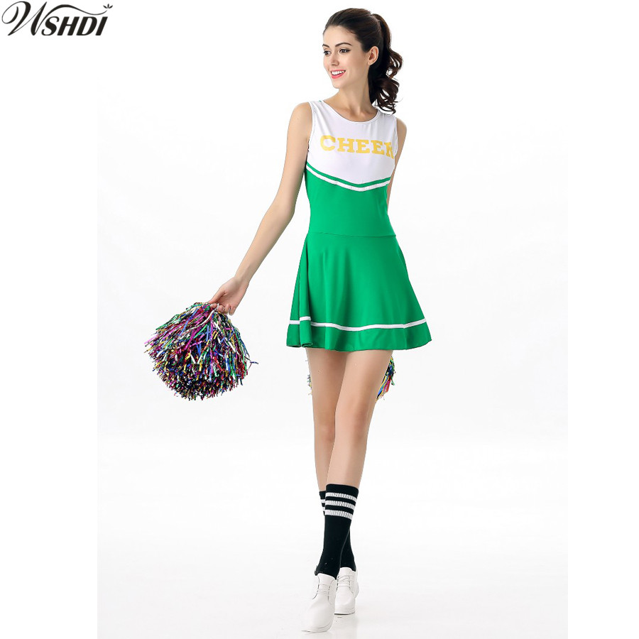 Sexy High School Cheerleader Costume Cheer Girls Uniform Party Outfit Cheerleading Fancy Dress