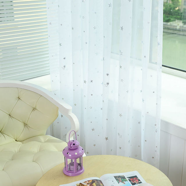 Solid Linen 3D Hollow Stars Shade Curtains Blackout