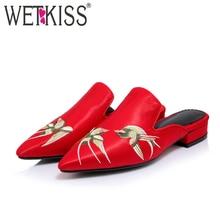 Wetkiss/Размеры 34–43 острый носок не сужающийся к низу каблук Сабо в китайском этническом Стиль вышивка летние шлепанцы повседневная обувь женские шлёпанцы