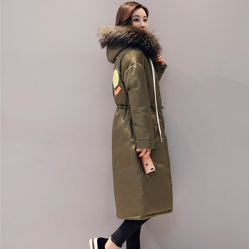 2017 Winter Jacket Women New Mid-Long Thick Warm Slim Parkas For Female Real Raccoon Fur Collar Cotton Padded Hooded Outwear women winter coat leisure big yards hooded fur collar jacket thick warm cotton parkas new style female students overcoat ok238