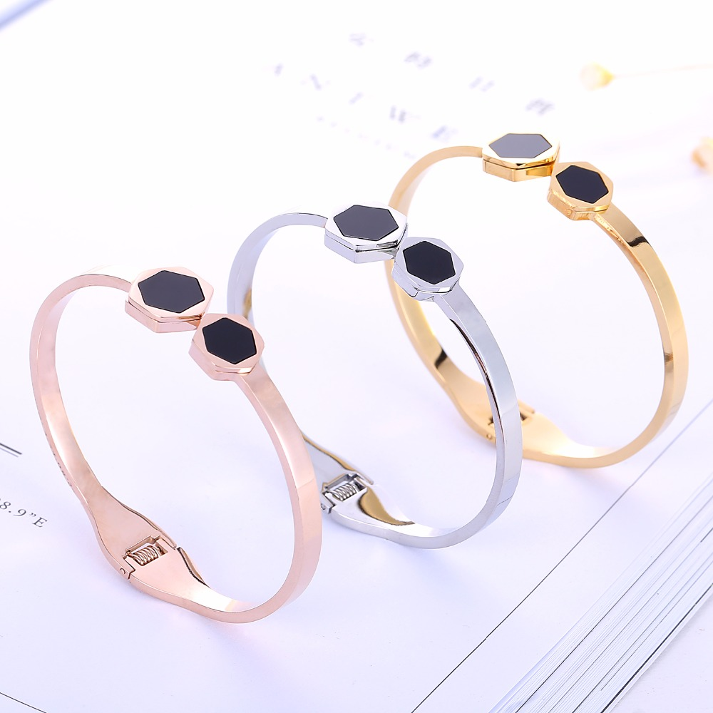 Top Quality hexagon Couple brand Fashion Jewelry Cuff Carter Bracelets Bangles 316L Stainless Steel Bracelets For Women