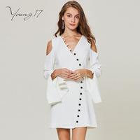 Young17 Vintage Dress Women Fall Long Sleeve Button Hollow V Neck Flare Sleeve Elegant Beauty Female