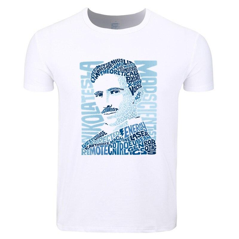 Asian Size Print Nikola Tesla Serbian American Inventor Physics T-shirt O-Neck Short Sleeves Summer Casual T-shirt HCP4138