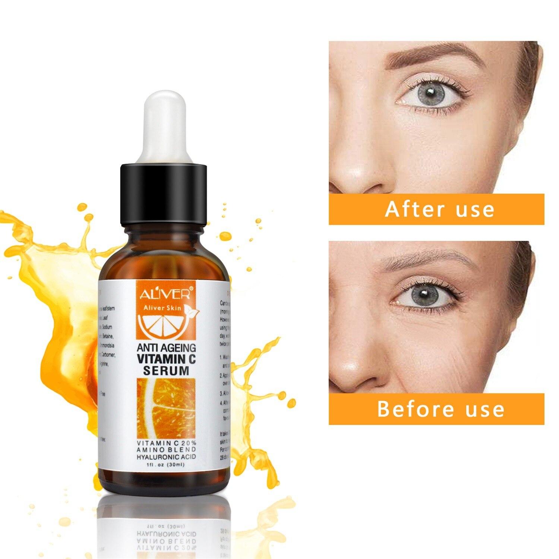 30ML Facial Vitamin C Serum Natural Organic hyaluronic acid whitening Moisturizing Anti Aging Remove Acne Skin Care TSLM1