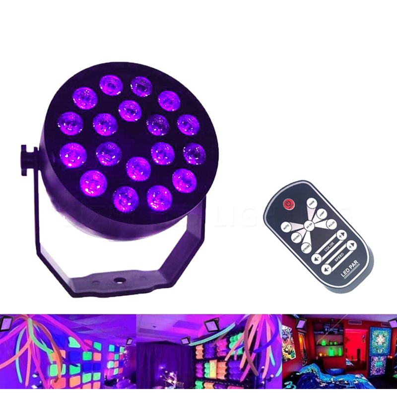 UV 18 LED Stage Lights Auto Sound Active DMX512 Master-slave Violet Led Laser Projection Lighting Party Club Disco Par Light