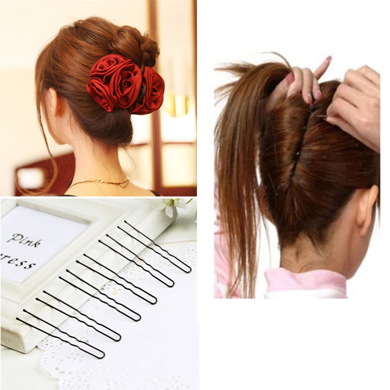 1pcs Elegant Flower Hair Clips Hair Accessories For Women Styling Clips 18pcs Black Metal U Shaped Hairpins Invisible Barrette Traveling