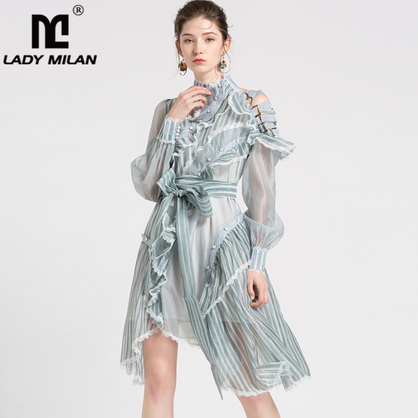2019 Spring Women s Runway Dresses O Neck Long Sleeves Lace Trim Ruffles Striped Asymmetric Fashion