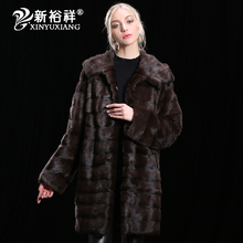 2017 luxury Real Mink Fur coat Winter Genuine Leather Clothes Thick long warm Natural real Fur Jacket Women Customizable