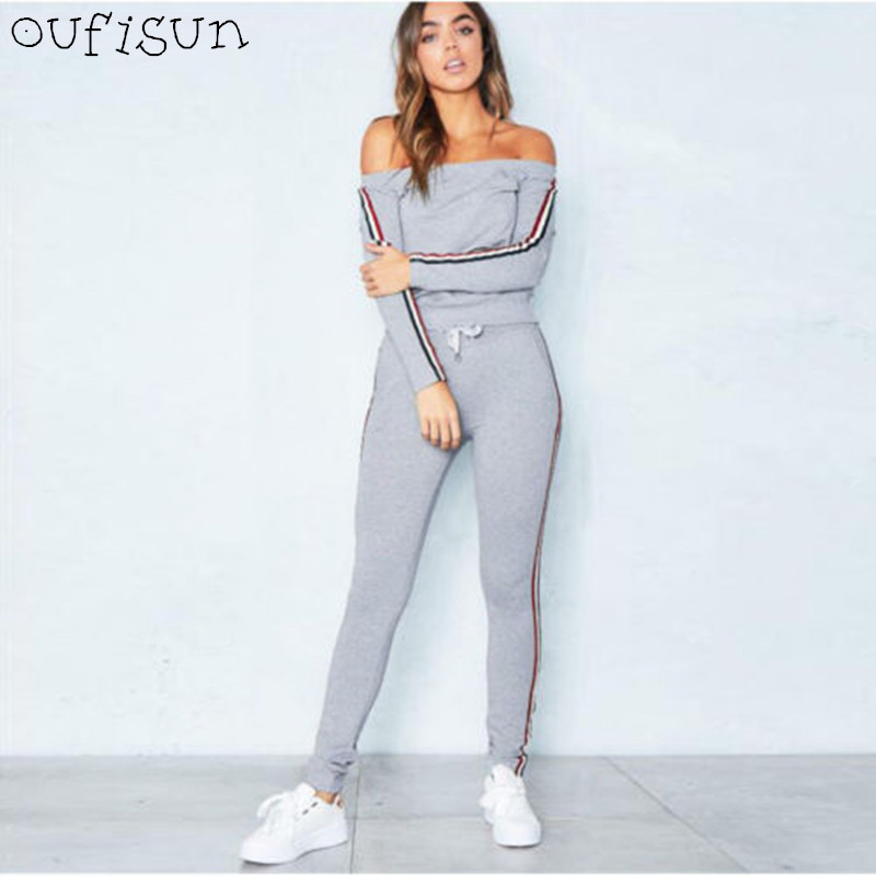 Oufisun Autumn 2018 New Casual Female Two Piece Set Women's Slim Sportswear Suit Sexy Long Sleeve Top Pencil Pants Tracksuit
