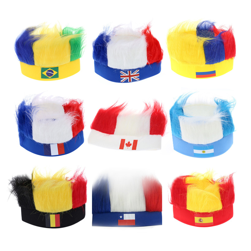 2018 Russia World Cup Wig Hats with National Flag Masquerade Cheerleadings Wig World Cup Football 32 Striker Color Fans Wig