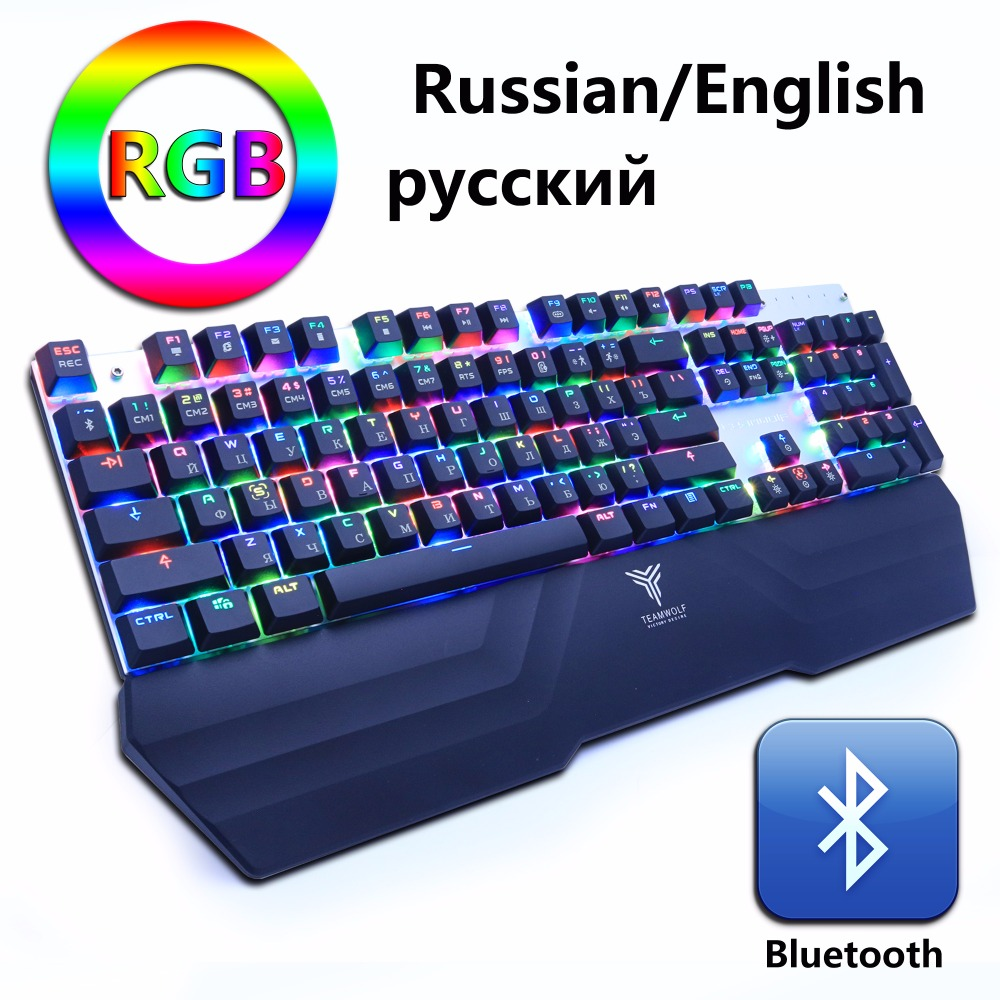 Wireless Bluetooth Gaming Mechanical Keyboard RGB Backlit LED Anti-ghosting Teclado for Gamer PC phone ipad Russian English gamer gaming mechanical rgb led backlit gaming mechanical keyboard black switch backlight game keyboard for pc laptop