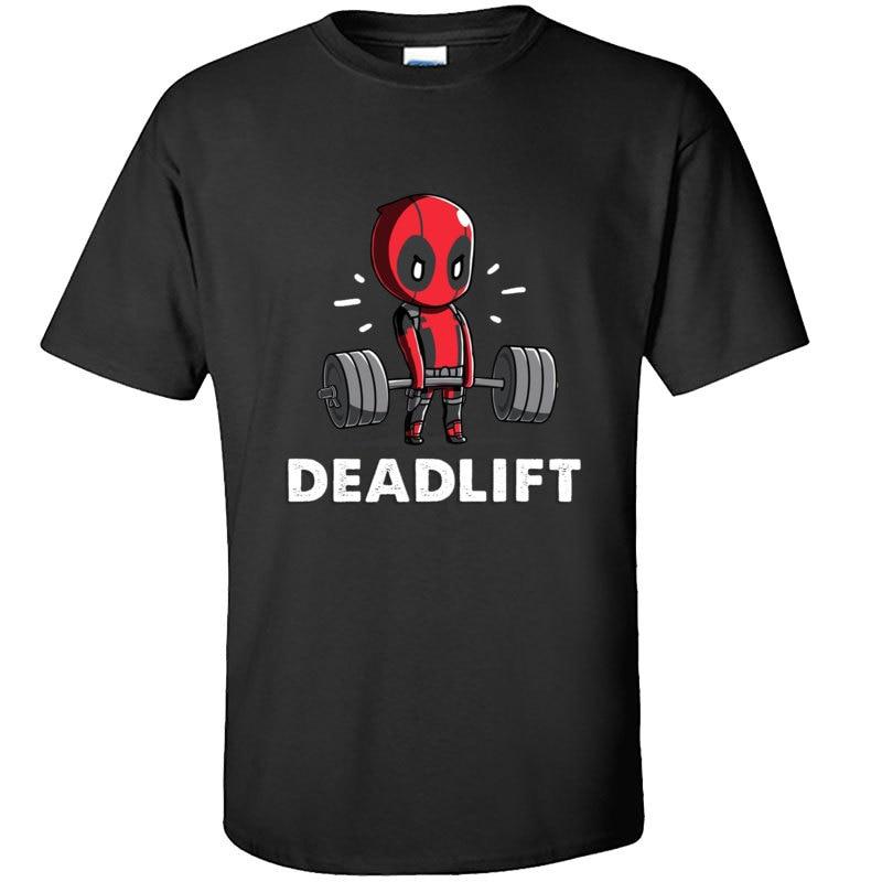 Amazing Deadpool Deadlift Weightlifting Funny Fitnesst Tshirt Marvel Deadpool Super Hero Tee Shirt Spider Man High Quality Men