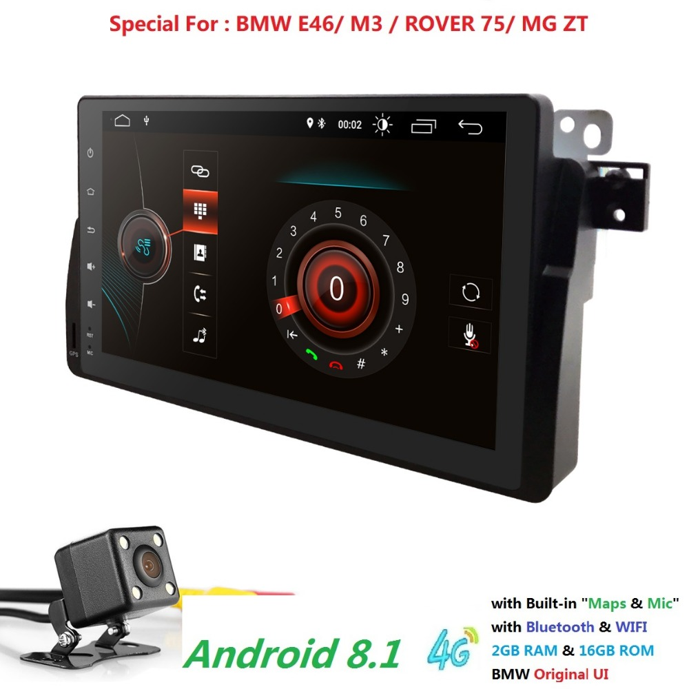 9 Big 1Din Quad Core Android 8 1 Car Stereo For BMW E46 MG ZT M3