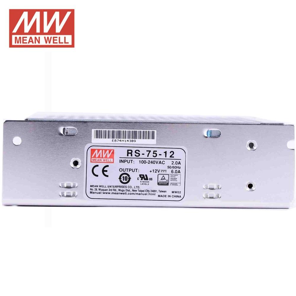 Utini Original RS-75-12 Single Output 12V 72W 6A Power Supply UL TUV CB EMC CE Approved 85-264VAC to 12V DC Power Supply