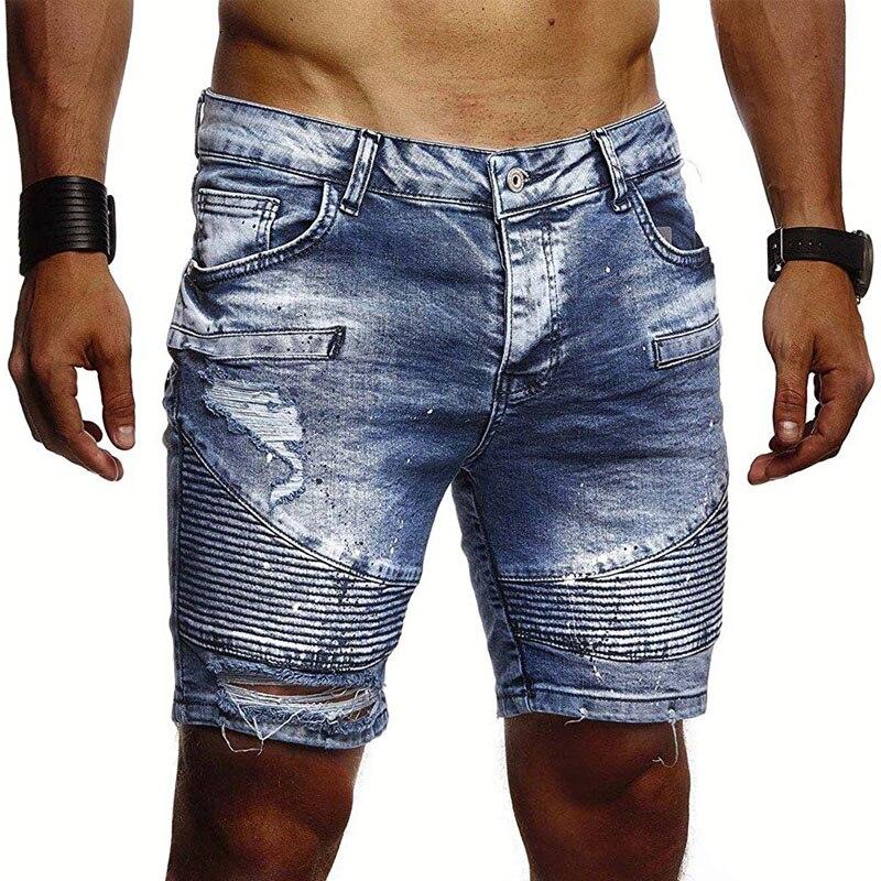 Denim   shorts   men's fashion denim pleated   shorts   large size S-3XL men's summer personality lacquer point casual slim denim   shorts
