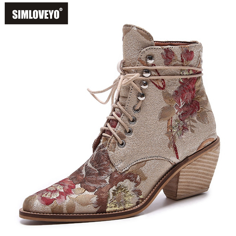 SIMLOVEYO 2019 newest ankle boots women Chinese style embroider fashion boots lace up autumn Spring ladies