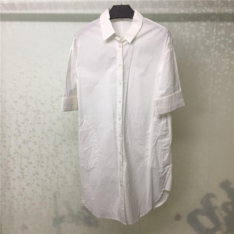 Blouses blanches femmes col rabattu manches courtes chemise été 2019 décontracté coton femme Blouse